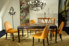 Dining Table & Top Quality Leather Dining Chair - JL&C Furniture
