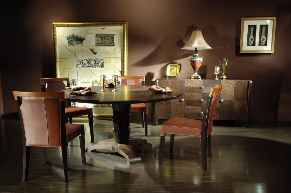 Dining table top quality leather chair jl c