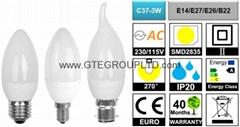 [PC+GL+AL] C37 3W LED Candle Bulb [E14/B15/E27/B22]