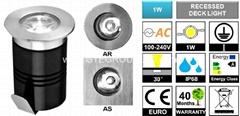 IP67 1W LED Recessed Light