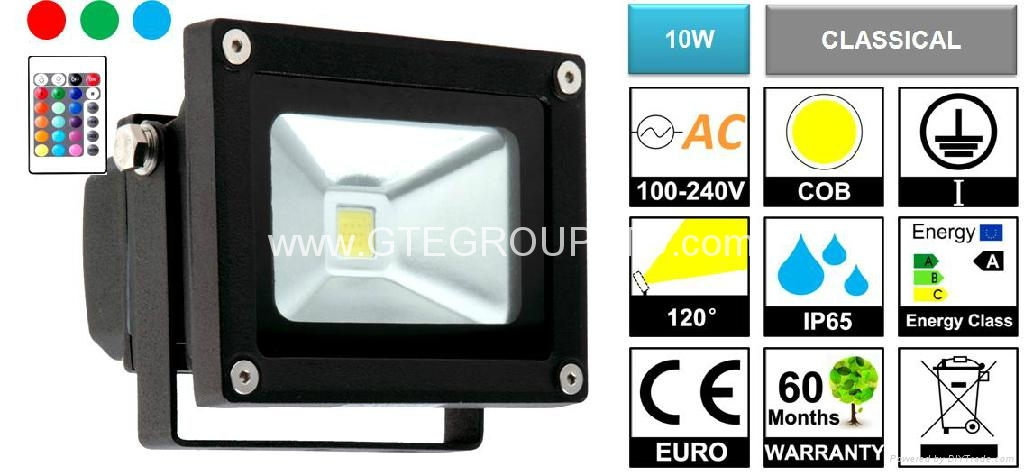 RGB 10W EPISTAR COB LED Flood Light with Remote Controller 1