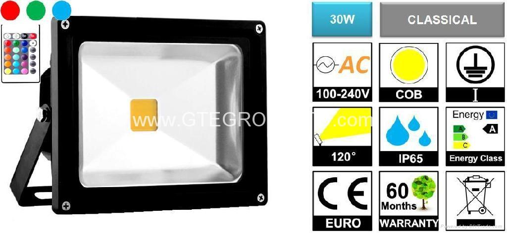 RGB 30W EPISTAR COB LED Flood Light with Remote Controller 1