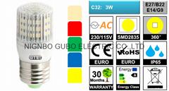 IP65 C32 LED Corn Bulb 3W [PC] (Hot Product - 1*)