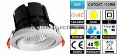 [CUTOUT:110MM] Adjustable 20W COB LED Spotlight