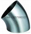 不锈钢卫生级焊接45°弯头 1