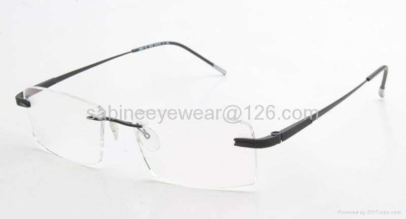 professional manufacturer high quality rimless titanium optical frame eyeglass  5