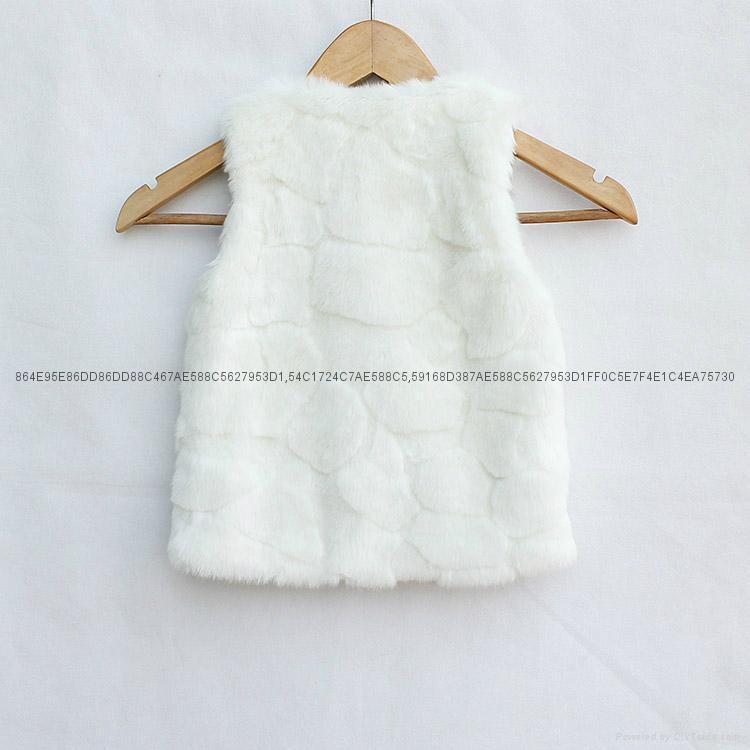Zara同款女童兔毛马甲外套 2