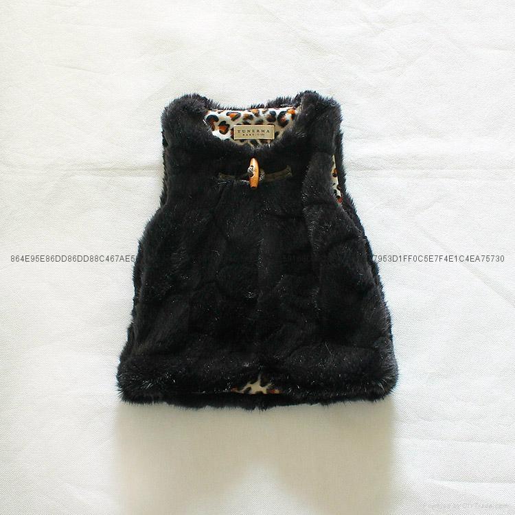Zara同款女童兔毛马甲外套 3