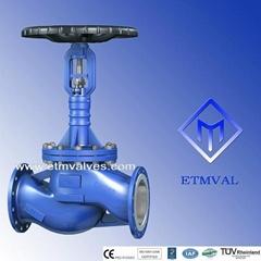 DIN long-bonnet high performance bellows sealed globe valves
