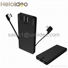 super slim AC plug power bank for  Mobile Phone,built in cable