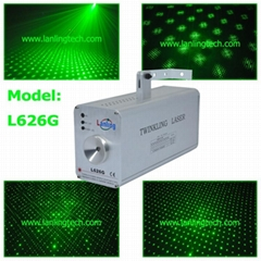 green twinkling laser light club lighting