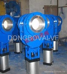 Pneumatic ceramic double ram discharging valve