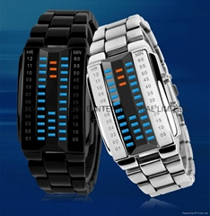 Army Style LED Watch with Alloy Bracelet and 28 Blue LED Lights for Time & Date