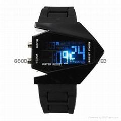 Plane Style Digital Display LED Silicone Wrist Watch Black