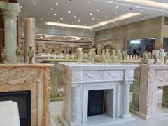 天然玉石欧式纯手工雕刻壁炉架(