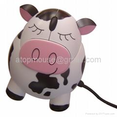 奶牛发声光电鼠标,卡通有线鼠标 礼品鼠标