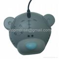 小熊光电鼠标,卡通有线鼠标 礼