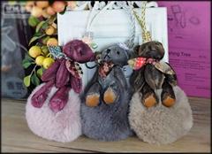 泰迪熊毛球香氛挂飾韓風汽車香薰挂飾包包拉鍊飾品