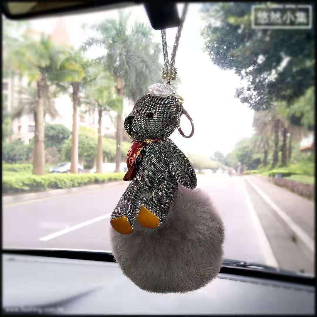 泰迪熊毛球香氛挂飾韓風汽車香薰挂飾包包拉鍊飾品 5