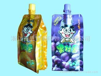 quad seal spout pouch for juice 350ml 1