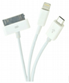 3IN 1 USB  CABLE  Charger Cable 8PIN /30PIN /Micro USB for iPhone3、3GS/4/5/6 Sam