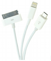 3IN 1 USB  CABLE  Charger Cable 8PIN
