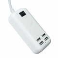15W Four USB Ports US Plug Power Adapter Charger Cell Phones & Tablet PC (White) 4