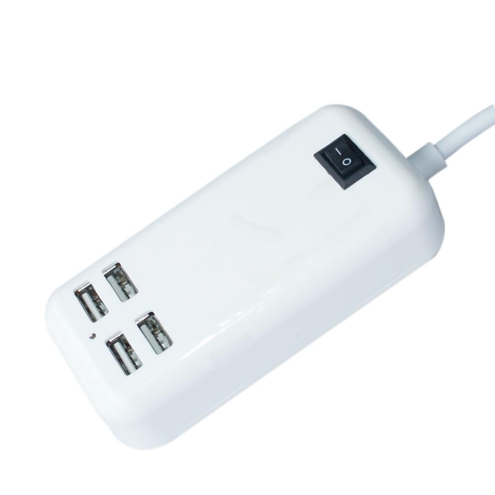 15W Four USB Ports US Plug Power Adapter Charger Cell Phones & Tablet PC (White) 1
