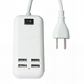 15W Four USB Ports US Plug Power Adapter Charger Cell Phones & Tablet PC (White) 3