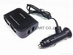 DC 12V/24V 2 Socket 1 USB Port Adapter Splitter Car Cigarette Lighter Charger