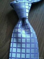 Blue Grid Polyester Neck tie(6820)
