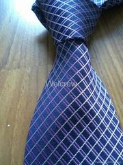 Blue Check-in Woven Necktie