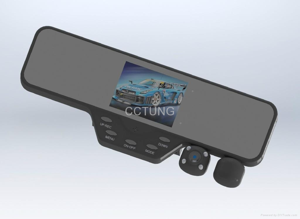 3.5 inch TFT HD rearview mirror car camcorder with Dual Rotatable IR camera 3