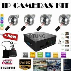 Full HD 1080P Super Mini NVR DIY Kit with 4pcs of ONVIF 720P Bulb IP Camera