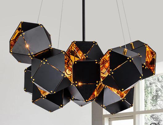 北欧设计师现代多面体组合客厅吊灯 1