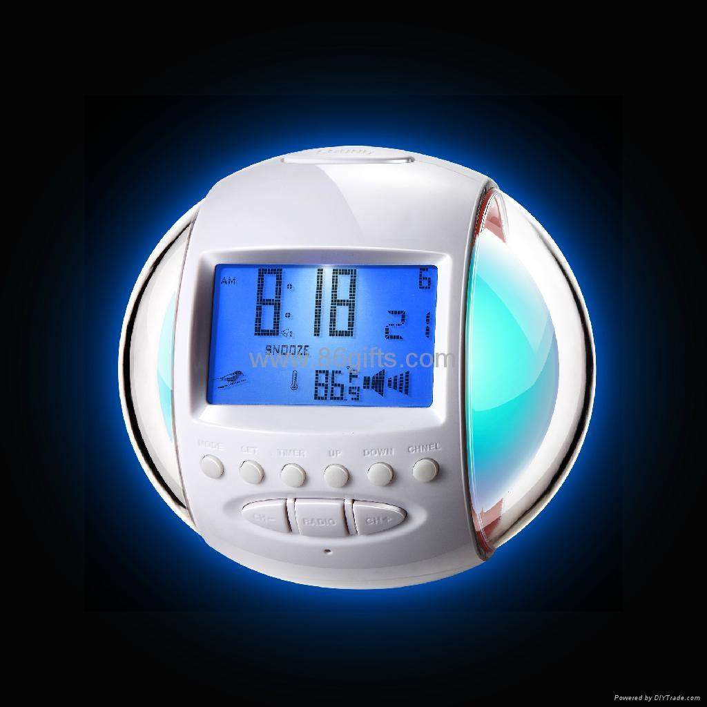 glowing 7 color change nature sound alarm clock radio hw. Black Bedroom Furniture Sets. Home Design Ideas
