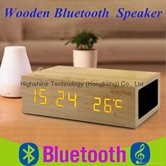 Wooden bluetooth speaker with time display and temperature display