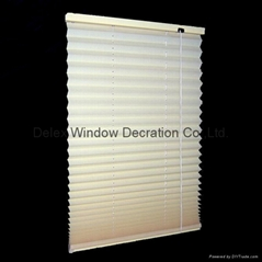 fabric pleated shades for windows with steel headrail and steel bottomrail