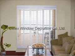 basswood sliding shutters for windows and doors with frame and rail