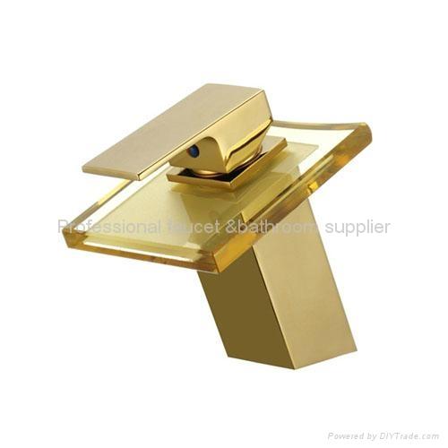 Brand New Golden surface Glass waterfall faucet 1