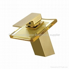 Brand New Golden surface Glass waterfall faucet