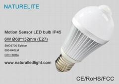 IP45 body induction 6W LED bulb