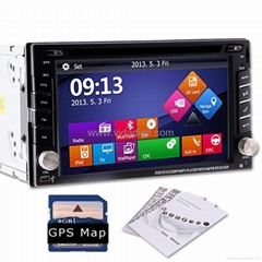 GPS Navigation HD Double 2DIN Car Stereo DVD Player Bluetooth iPod MP3 TV+Camera