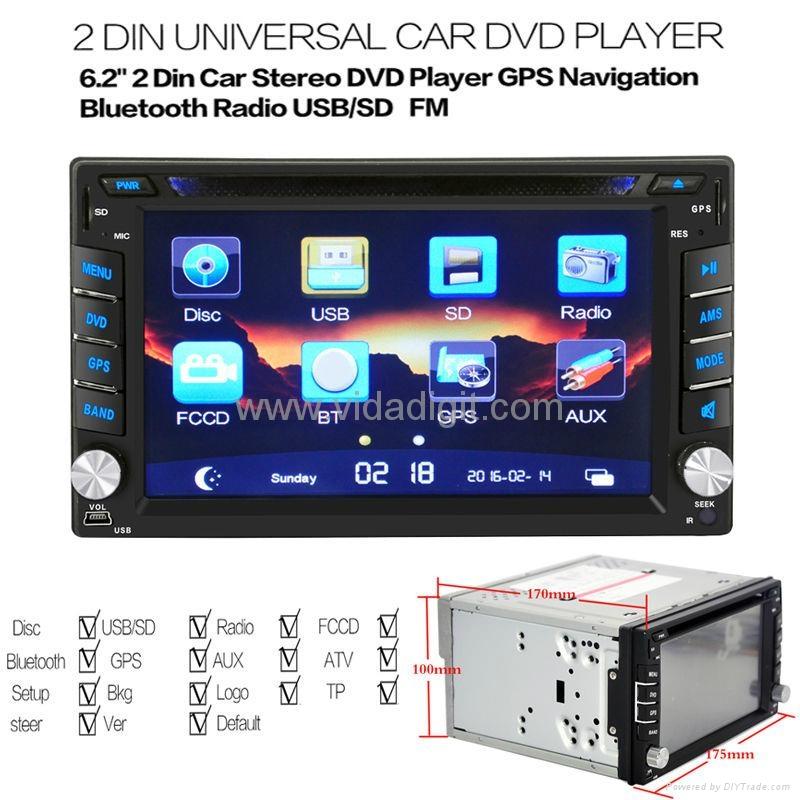 "2Din 6.2""  In-Dash Radio iPod TV Bluetooth GPS Navigation Car DVD/USB/SD Player 5"