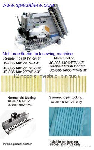12 needle invisble pin tuck sewing machine