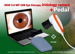 新款500万像素USB电脑型自动分析虹膜仪,虹膜检测仪+脚踏板