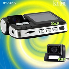 Front/Rear dual lens HD car dvr camera driving recorder 720P(XY-9615)
