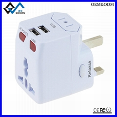 Fashion portable world universal travel adapter with 2usb charger