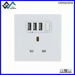 UK Wall Socket with 3 USB Port and Switch