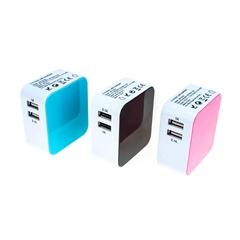 3.21A 雙USB充電器套裝帶歐規,美規,英規,澳規插頭